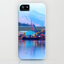Industrial reflection at mountains edge iPhone Case