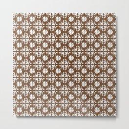 Brown & White Floral Tile Pattern Metal Print