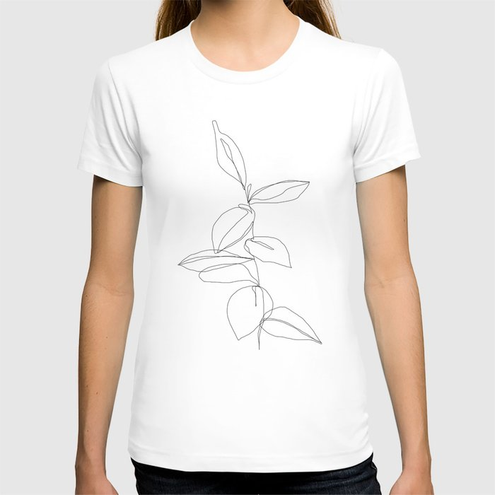 One line minimal plant leaves drawing - Berry T-shirt