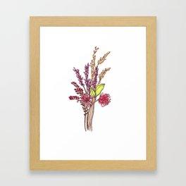 Wild Flower Bouquet Watercolor Painting Framed Art Print