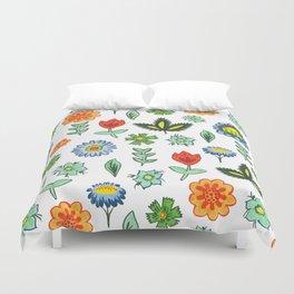 Fun Folk Floral Pattern Duvet Cover