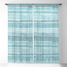 Watercolor Patterned Stripes - Ocean Turquoise Sheer Curtain