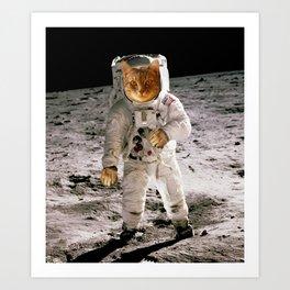 SPACE CAT MOON WALK Art Print