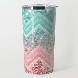 Summer Vibes Glitter Chevron #1 #coral #mint #shiny #decor #art #society6 Travel Mug