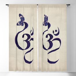 OM symbol and Butterfly - watercolor Blackout Curtain
