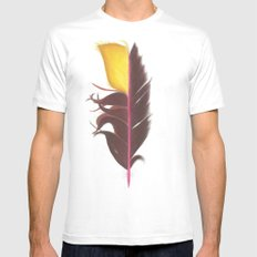 Feather #7 White MEDIUM Mens Fitted Tee