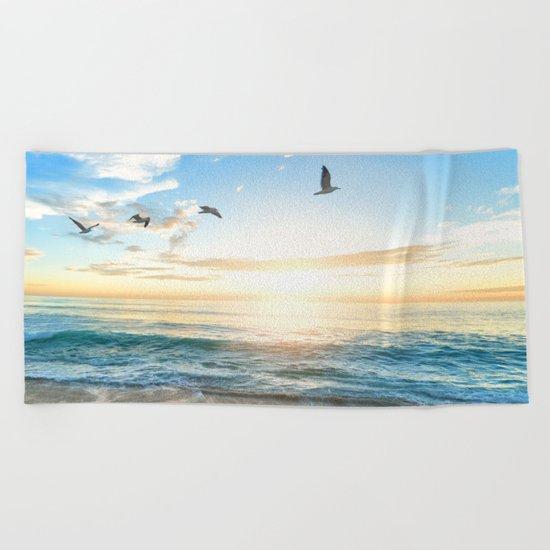 Blue Sky with Birds Beach Towel
