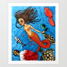 Swimming with fish Art Print