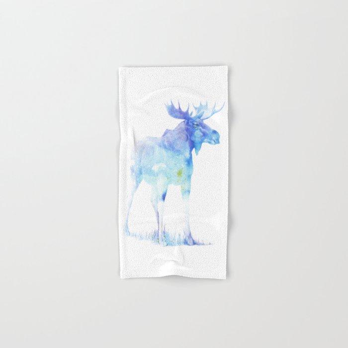 Blue Watercolor Moose Hand & Bath Towel