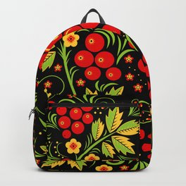 Red berry ornament khokhloma Backpack