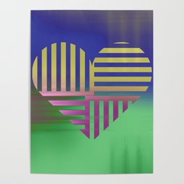 Decorative Blue Green Gold V Heart Pattern Poster