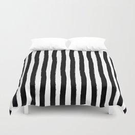 Black and White Cabana Stripes Palm Beach Preppy Duvet Cover