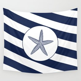 Nautical Starfish Navy Blue & White Stripes Beach Wall Tapestry