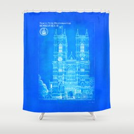 Westminster Abbey Architecture - Gothic Blueprints  Shower Curtain