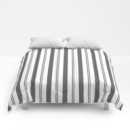 Pantone Pewter Gray & White Wide & Narrow Vertical Lines Stripe Pattern Comforters