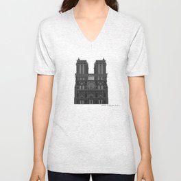 HexArchi - France, Paris, Cathedral of Notre Dame de Paris Unisex V-Neck