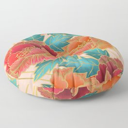 Pink Peonies Pattern with Gold Waves Floor Pillow