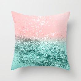 Summer Vibes Glitter #4 #coral #mint #shiny #decor #art #society6 Throw Pillow