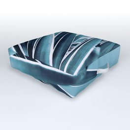 Palm Rays - Duotone Black and Teal Outdoor Floor Cushion