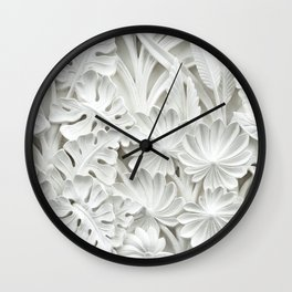 Plastic White Flowers Wall Clock