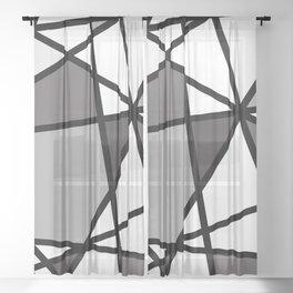 Triangels Geometric Lines dark grey  - grey - white Sheer Curtain