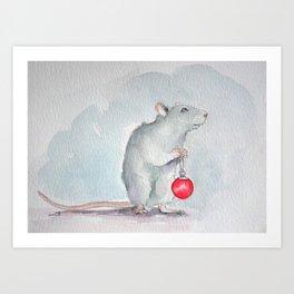 Chritmas rat Art Print