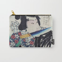 Kunichika Tattooed Warrior with Sayagata Pattern Background Carry-All Pouch
