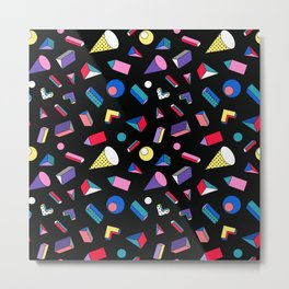 3D Shapes - 90's Pattern Metal Print