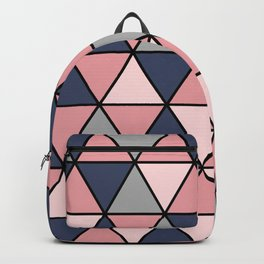 Geometric Abstract Design Pattern (Navy and Pink) Backpack