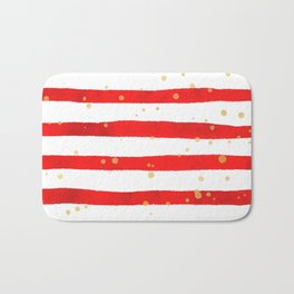 Modern hand painted red yellow watercolor stripes splatters Bath Mat