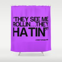 """christopher walken Shower Curtains featuring """"Misquoted"""" Series  