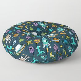 Deep Space, Night Sky, Rocket Ship, UFO, Space Alien, Astronaut, Outer Space Floor Pillow
