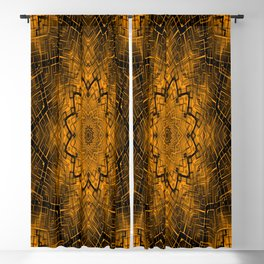 Black and yellowbrown kaleidoscope Blackout Curtain