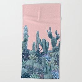 Milagritos Cacti on Rose Quartz Background Beach Towel