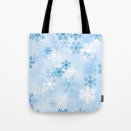 Blue White Winter Snowflakes Design Tote Bag