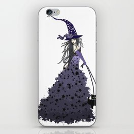 Witch Walking Two Black Cats with Star and Moon Hat in Purple iPhone Skin