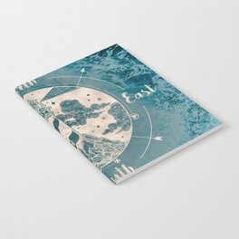 Lighthouse Compass Ocean Waves Gold Notebook