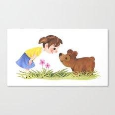 Girl And Bear Say Hello Canvas Print