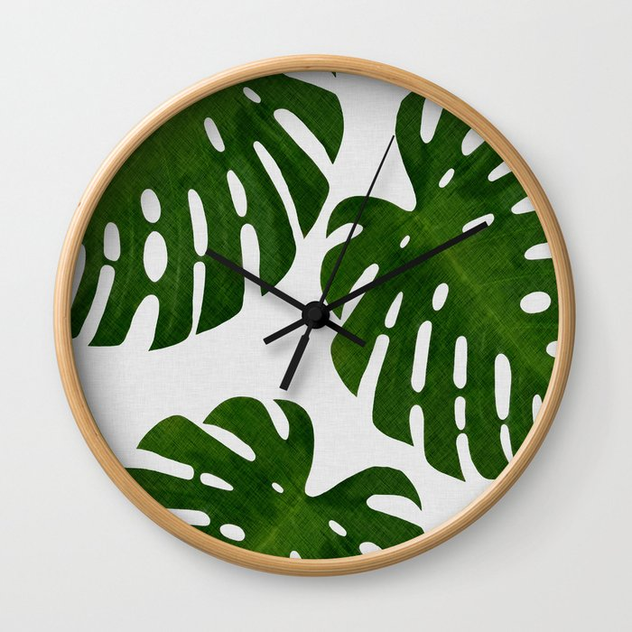 Monstera Leaf II Wall Clock