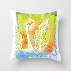 Swan Splash Throw Pillow
