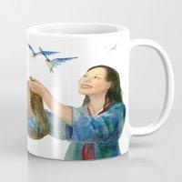 korean Mugs featuring Korean Cinderella: Swallows by Jen Betton