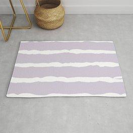 White and Lavender Stripes Rug