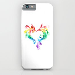 Heart of Rainbow Drops iPhone Case