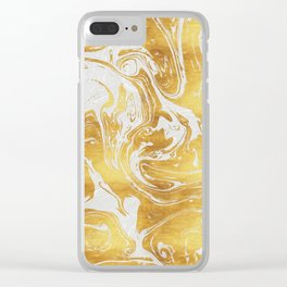 White Dragon Marble Clear iPhone Case
