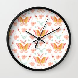 Modern cute pastel coral teal butterfly floral pattern Wall Clock