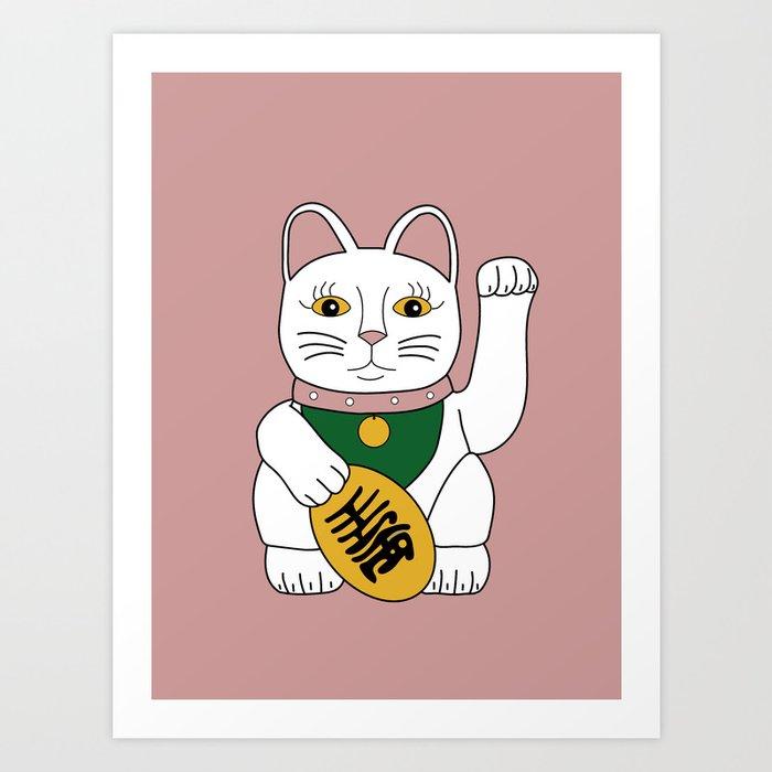 Maneki Neko - lucky cat - pink Art Print