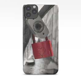Red Locker Heart Love on a bridge Black and White in Venice iPhone Case