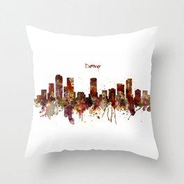 Denver Skyline Silhouette Throw Pillow