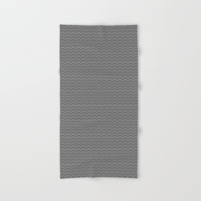Black and White Scallop Line Pattern Digital Graphic Design Hand & Bath Towel