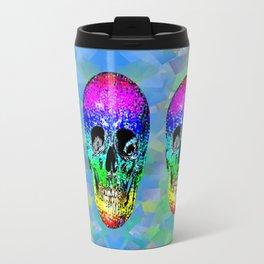Skull disco rainbow Travel Mug